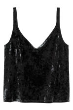 Crushed velvet strappy top - Black - Ladies | H&M 2