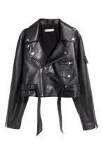 Leather biker jacket - Black -  | H&M 2