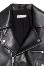 Leather biker jacket - Black -  | H&M 3