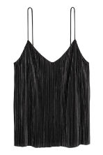 Pleated strappy top - Black -  | H&M 2