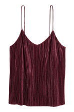 Pleated strappy top - Burgundy -  | H&M CA 2