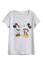 Printed T-shirt - Light grey/Mickey Mouse - Ladies | H&M CN 2