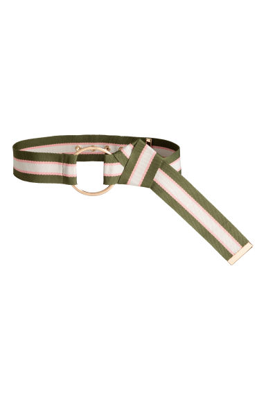 Wide waist belt - Khaki green/Striped - Ladies | H&M 1