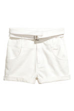 High-waisted twill shorts - White - Ladies | H&M CN 2