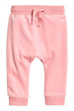 Velour trousers - Pink -  | H&M CN 1