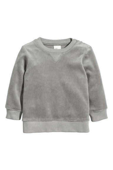 Velour sweatshirt - Grey -  | H&M 1