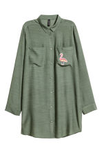 Shirt with appliqué - Khaki green - Ladies | H&M GB 2