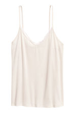 Strappy top with lace detail - Light beige - Ladies | H&M 2