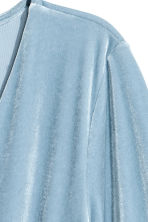 V-neck velour dress - Light blue -  | H&M CN 3