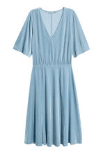 V-neck velour dress - Light blue -  | H&M CN 2