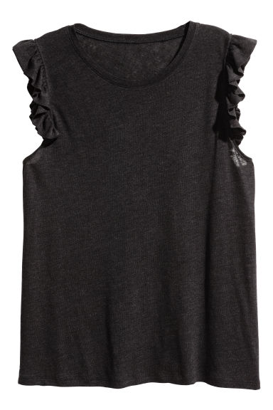H&M+ Linen-blend top - Black - Ladies | H&M 1