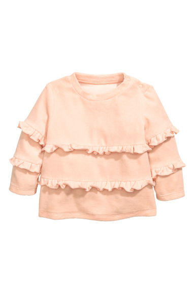 Top in velour con volant - Rosa cipria - BAMBINO | H&M IT 1