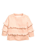 Velour top with frills - Powder pink - Kids | H&M 1