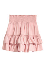 Frilled skirt with smocking - Light pink - Ladies | H&M CN 2