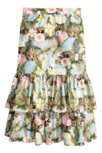 Tiered cotton skirt - Light blue/Floral - Ladies | H&M CN 2