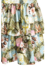 Tiered cotton skirt - Light blue/Floral - Ladies | H&M CN 3