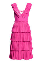 Pleated tiered dress - Neon pink - Ladies | H&M CN 2