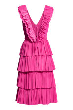 Pleated tiered dress - Neon pink - Ladies | H&M CN 3