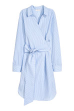 Cotton wrap dress - Blue/White/Striped - Ladies | H&M CN 2