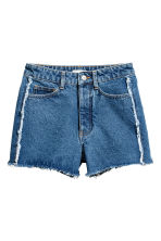 Frayed-hem denim shorts - Denim blue - Ladies | H&M CN 2