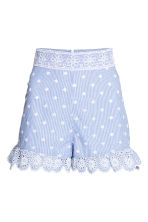 Embroidered frilled shorts - Blue/White/Striped - Ladies | H&M 2
