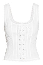Top with broderie anglaise - White -  | H&M CN 2