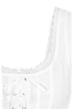 Top with broderie anglaise - White -  | H&M CN 3