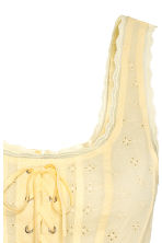 Top with broderie anglaise - Light yellow -  | H&M 3