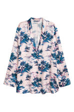Patterned satin shirt - Light pink/Palms - Ladies | H&M 2