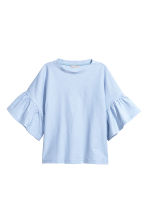 Top with flounced sleeves - Light blue - Ladies | H&M CN 2
