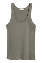 Pima cotton vest top - Khaki green - Ladies | H&M CA 2