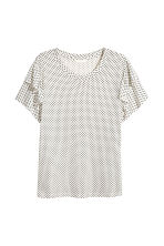 Top with frills - White/Spotted -  | H&M 2
