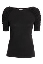 Jersey top with gathers - Black - Ladies | H&M 2