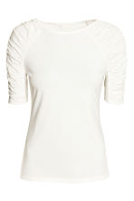Jersey top with gathers - White - Ladies | H&M CN 2