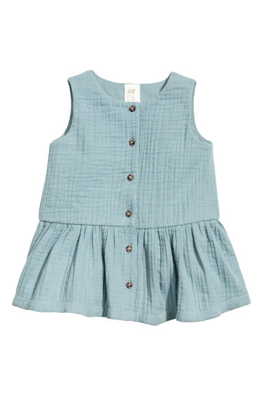 Cotton double-weave dress - Light petrol - Kids | H&M CN 1