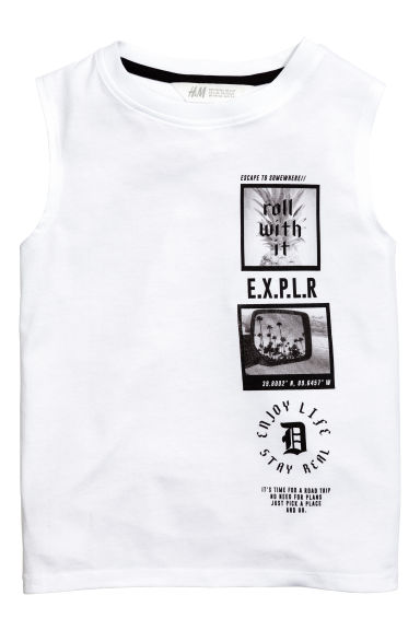 Printed vest top - White -  | H&M 1