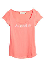 Printed top - Coral pink - Ladies | H&M CA 2