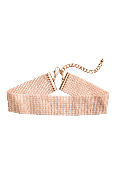 Choker in tessuto a perline - Rosa cipria -  | H&M IT