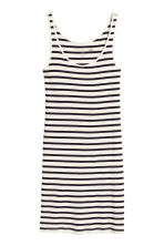 Ribbed jersey dress - White/Striped - Ladies | H&M CA 2