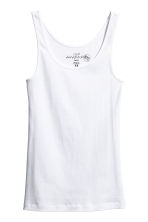 Ribbed vest top - White - Ladies | H&M 2