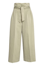 Wide trousers with a belt - Light khaki - Ladies | H&M GB 2