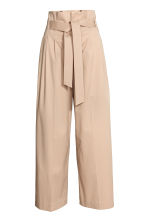 Wide trousers with a belt - Beige - Ladies | H&M CN 2