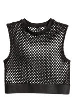 Short mesh top - Black - Ladies | H&M 2
