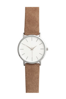 Watch with a suede strap
