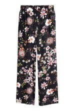 Wide trousers - Black/Floral - Ladies | H&M 2