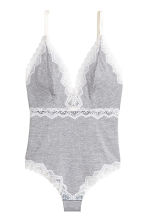 Ribbed microfibre body - Grey marl - Ladies | H&M 2