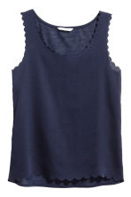 Top with scalloped edges - Dark blue - Ladies | H&M CN 2