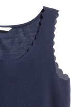 Top with scalloped edges - Dark blue - Ladies | H&M CN 3
