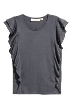 Frilled top - Dark grey - Ladies | H&M CN 2