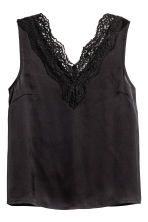 Satin top with lace - Black - Ladies | H&M 1